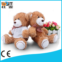 white 100% polyester sublimation printable t-shirt 15cm brown teddy bear