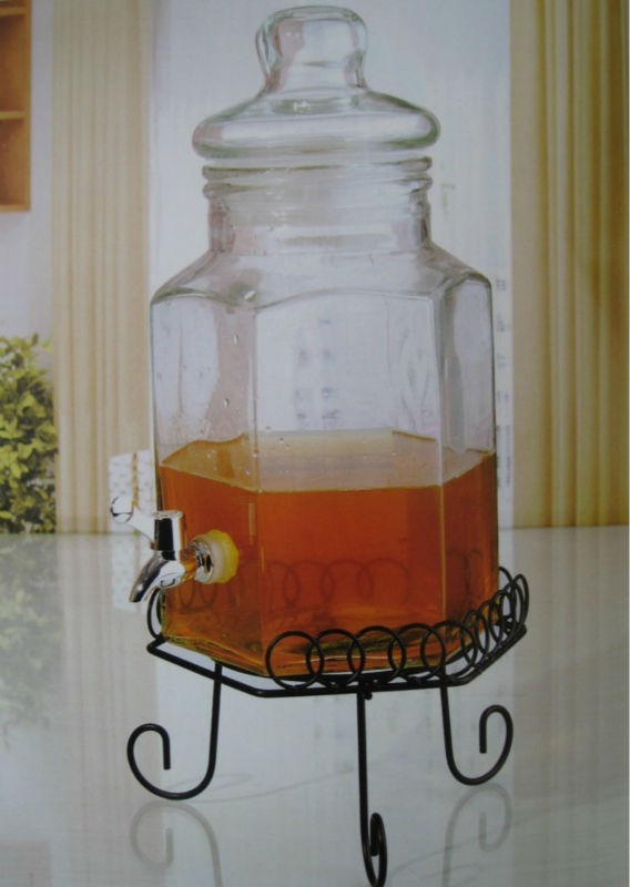 6L Glass Beverage Container with Tap and Metal Rack / Clear Glass Jar with Tap and Metal Stand