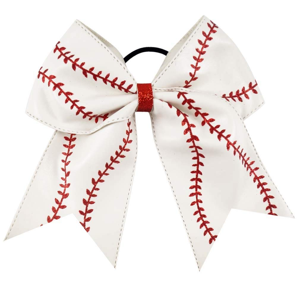 3d7c57c24f900 Get Quotations · Large baseball bow - hairbow - hair bow - boutique bow - cheer  bow - baseball
