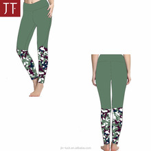 women leggings own design, solid body with matched mesh side panel, various colors available