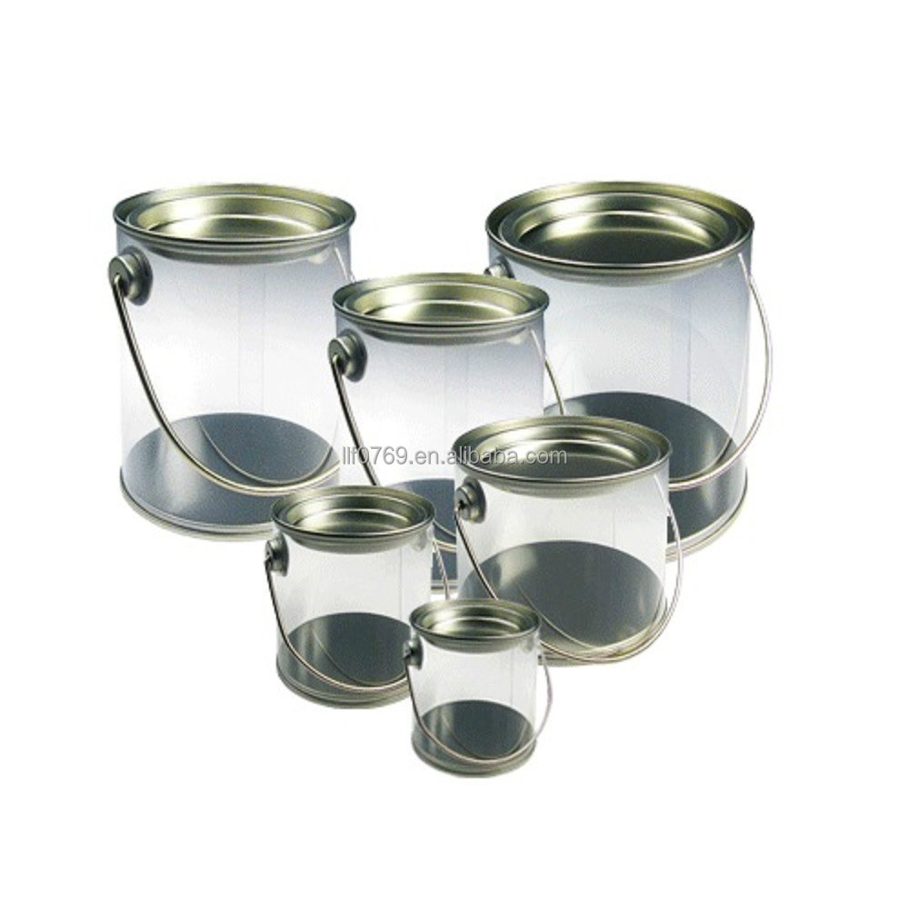 Clear Plastic Verf Kan Candy Container