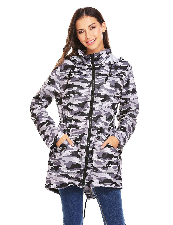 Dickin Womens Waterproof Lightweight Rain Jacket Active Outdoor Hooded Raincoat S-XXL