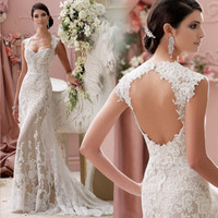 Gorgeous Sweetheart Sexy Low Neck Backless Lace White Long Train Mermaid Wedding Dress