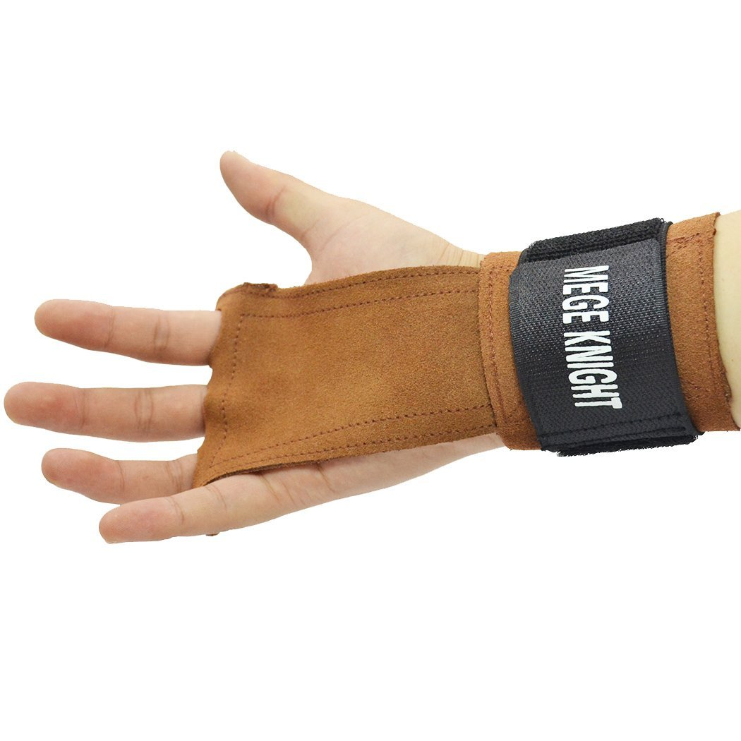 ace3b0afabb9 Get Quotations · Leather Gymnastics Hand Grips with Wrist Wraps, Great for  Gymnastics, Crossfit WODs, Pull