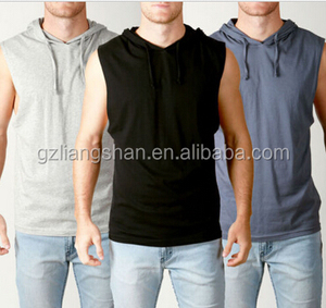 OEM Wholesale Men's Sleeveless Pullover Hoody Lightweight DEEP CUT off Gym Muscle Tank Hoodie