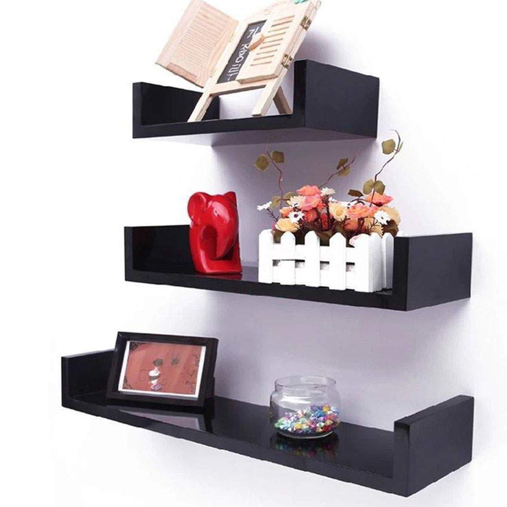 Ogori 3 Floating U Shelves Wall Mounted Shelf floating bookshelf, Walnut Finish