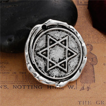 Zinc Based Alloy Wax Seal Pendants Irregular Antique Silver Star Of David 31mm x 29mm