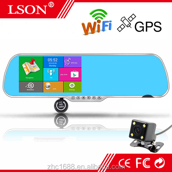 "5"" Inch Android GPS Rearview Mirror Full HD Navigation Car Recorder Dual Camera Visible Reverse"
