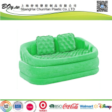 ISO manufacturer hot sales furniture 2-person lounge loveseat green deluxe pvc flocked inflatable sofa furniture