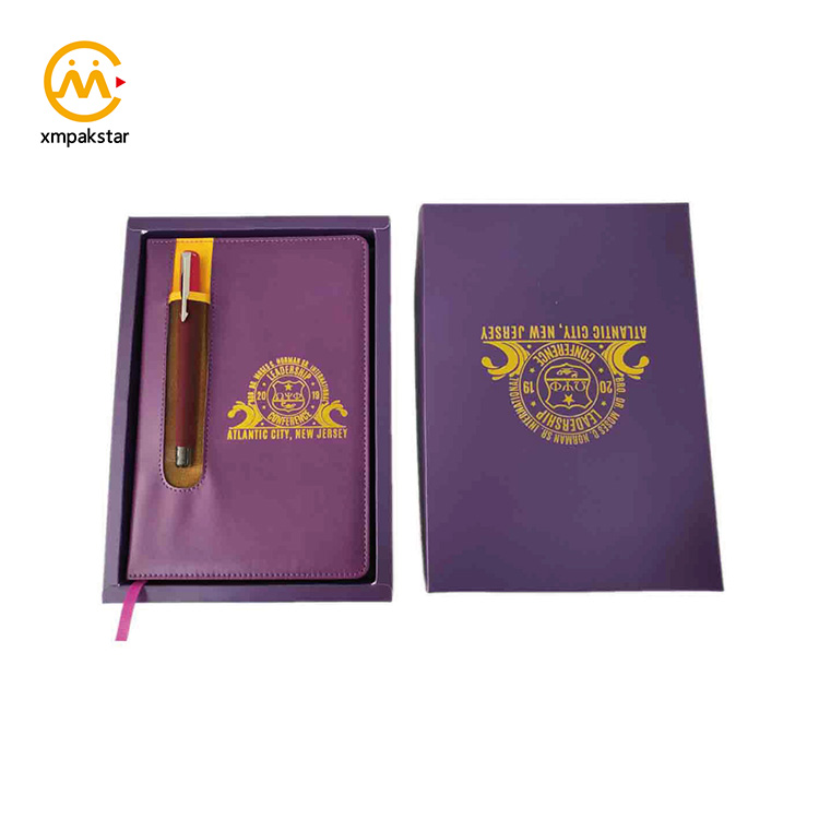 A5 customizable embossed  PU leather journals planner notebook with pen holder