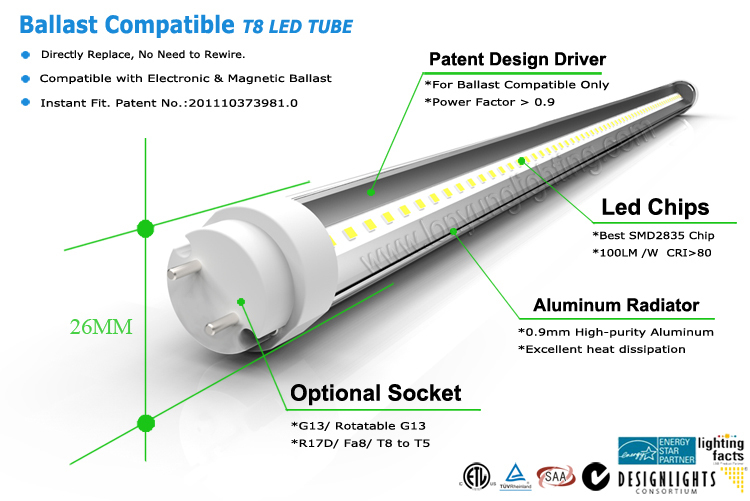 Top Grade Malaysia Energy Star Self Ballasted T8 Led Fluorescent ...