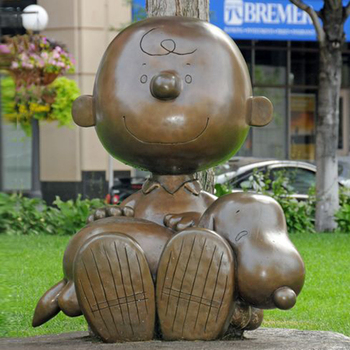 Peanuts Famous Bronze Cartoon Statue Of Charlie And Snoopy