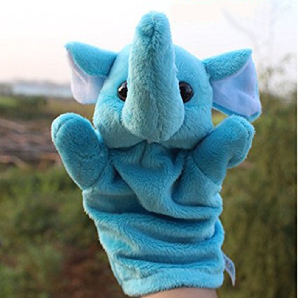 LUCKSTAR(TM) 1PC Cute Velvet Animal Style Hand & Finger Puppet Toy Plush Toy For Kids Preschool Kindergarten (Elephant)