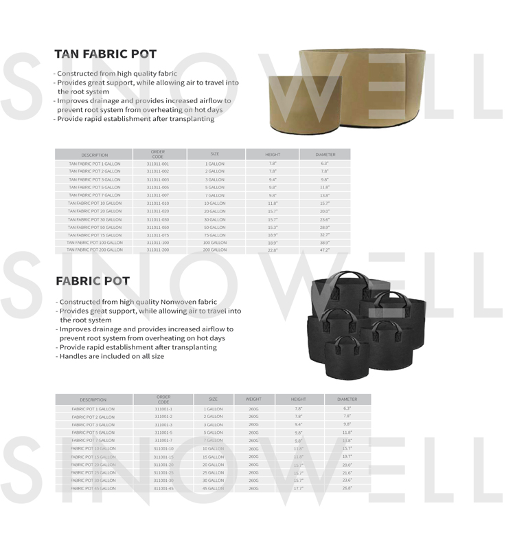 SINOWELL Factory Direct Supply Tan Fabric Pot