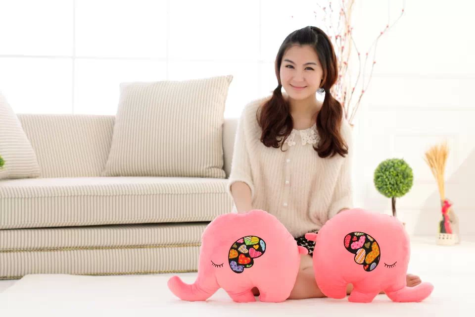 CE Audited Plush Elephant Doll Pillow Pink Blue
