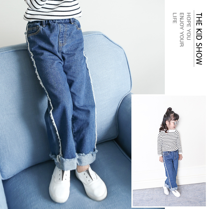 S17655A Girls jeans pants autumn 2017 children's clothing