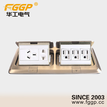 Dual Double Floor Mounted Electrical Pop Up Outlet Socket With Computer Plugs