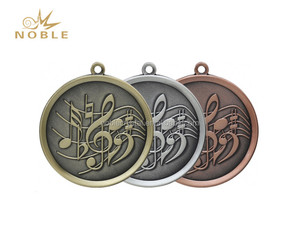 Antique Plated 3D Music Metal Medal with Custom Ribbon
