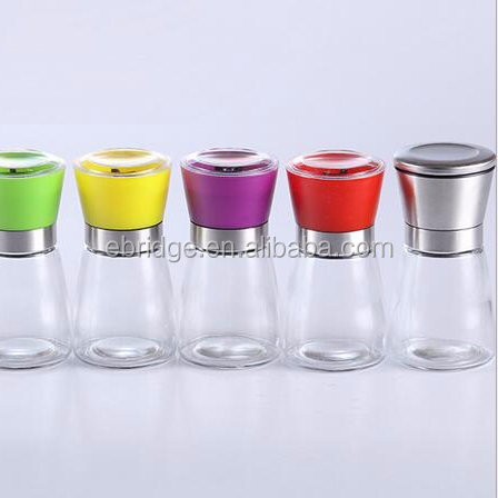 healthy salt mill, herbs mill with colorful grinder cap, bath salt grinder
