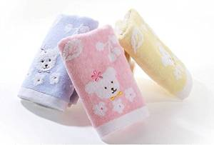 100% Cotton Terry Baby Square Towel Washcloth Flower and Bear Pattern 3 Pcs/set Blue/ Pink/ Yellow 35*34cm