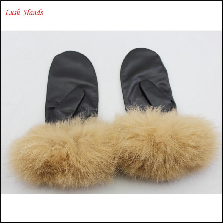 ladies wholesale knit leather mittens with rabbit fur