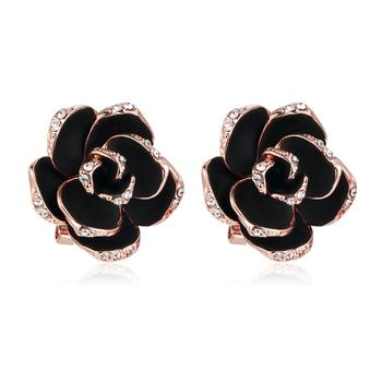 Top Quality Crystal Black Rose Stud Earring Rose Gold Color For Women Girl Birthday Party Fashion Jewelry Wholesale E660