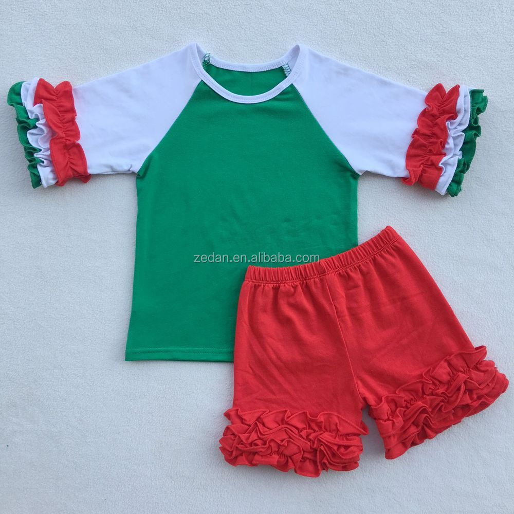 baby girls Ruffle 3/4 sleeve shirt withicing shorts Christmas outfit clothing set