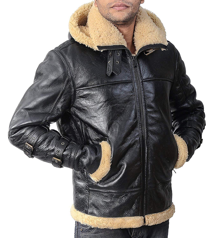 9200ebd43 Buy B3 shearling Leather jacket Bomber Fur pilot World II Flying ...