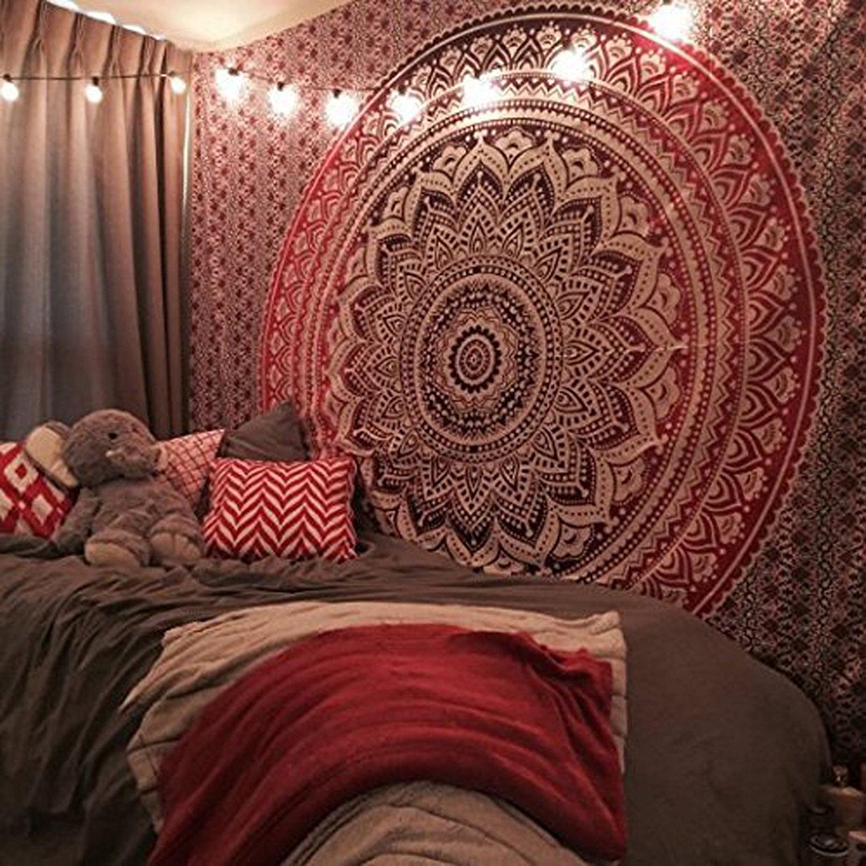 Raajsee-Indian Ombre Mandala Tapestry,Hippie Tapestry,Bohemian Boho Bedspread Tapestry,Dorm Tapestry,Wall Tapestry,Tapestry Wall Hangings,Single Bedsheet Tapestry#bs35