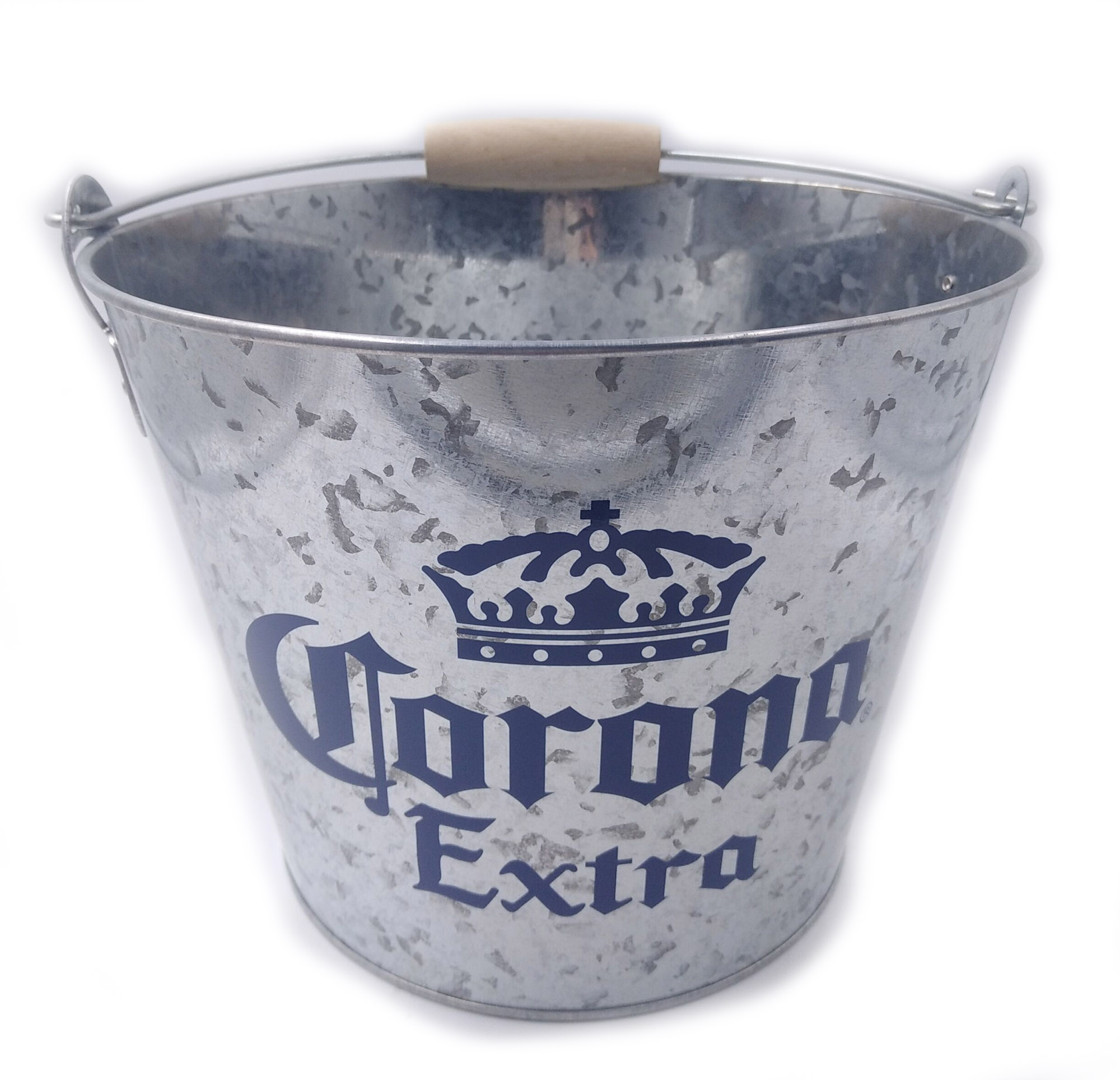 5qt Corona embossed logo metal tin ice bucket/Galvanized iron beer ice bucket with bottle opener