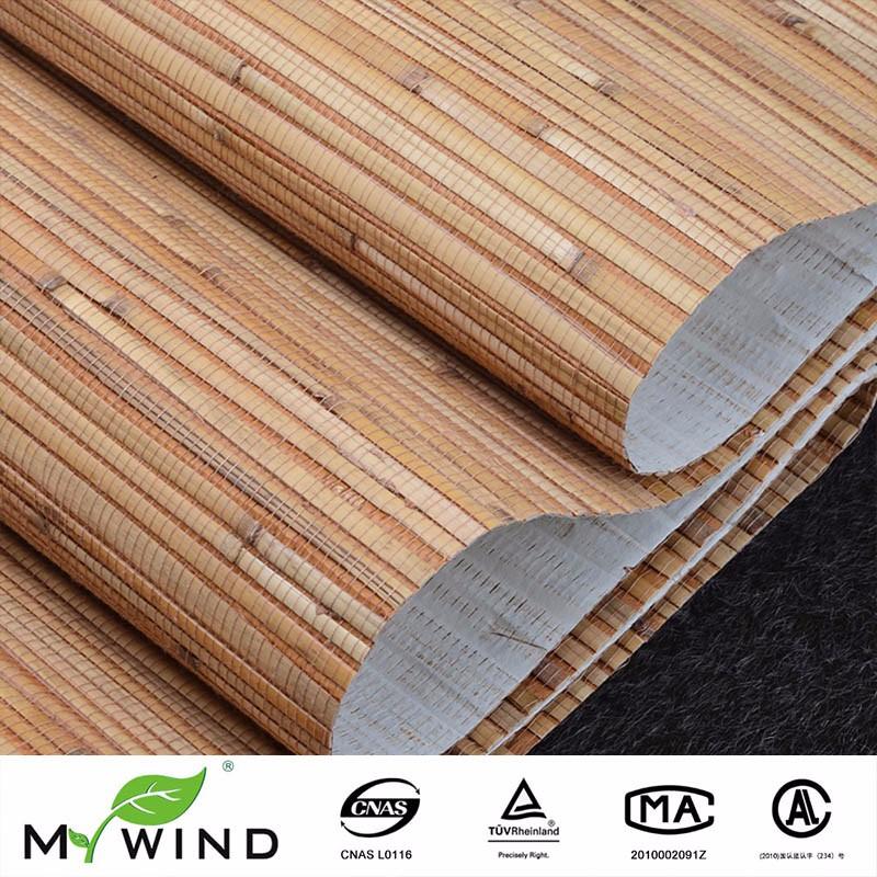 Bamboe Wandbekleding Geel Beige Natuurlijke Getextureerde