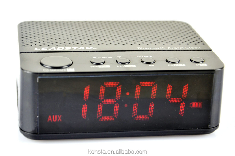 Bluetooth Alarm Clock Speaker With Led Time Display 10 Hours Music ...