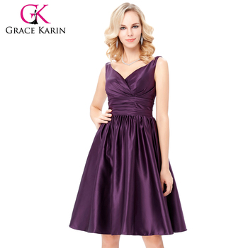 Grace Karin Sleeveless V-Neck Satin Purple Color Homecoming Dress Short Prom Party Dress 8 Size US 2~16 GK000126-2