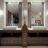 high end timber color wall mounted bathroom vanity