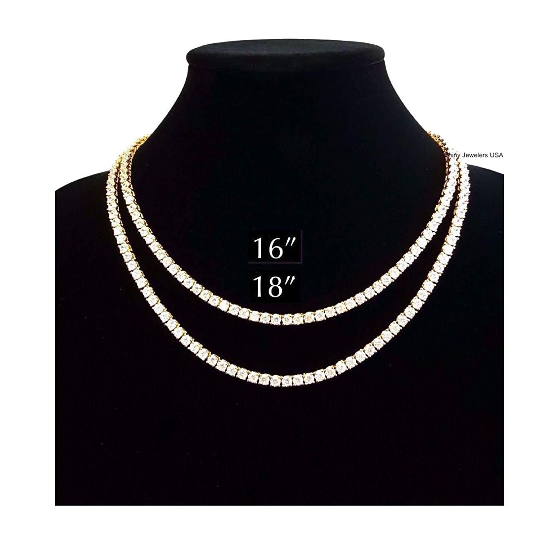 "Shiny Jewelers USA MENS ICED OUT SINGLE 1 ROW GOLD CZ HIP HOP CHAIN 16"", 18"", 20"", 24"", 30"" NECKLACE"
