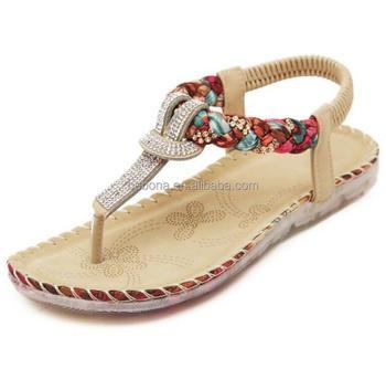 cd44edeeec313 Wholesale Women Bohemia Flip Flops Ladies Rhinestone Slippers Low heel flat sandals  shoes