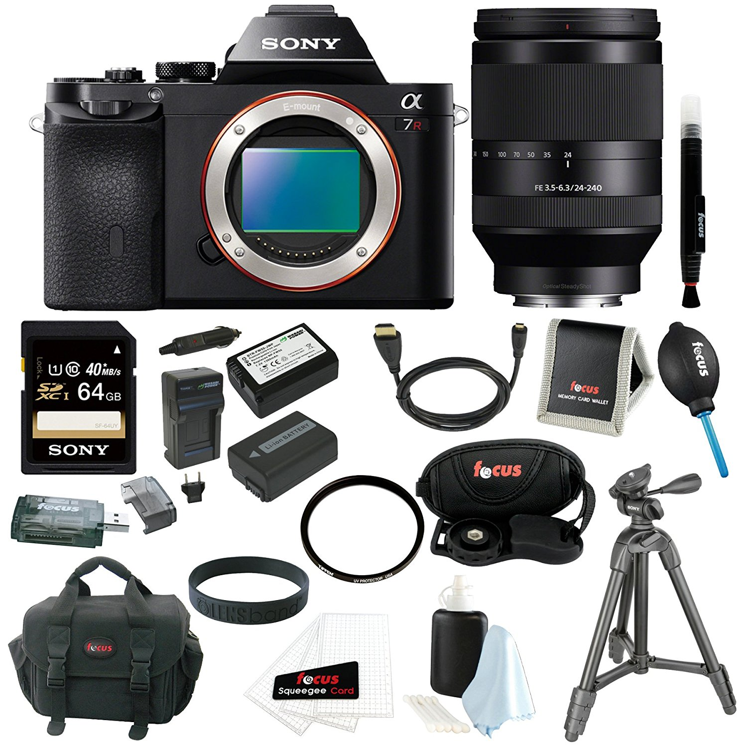 Sony 36.3 MP a7R ILCE7R/B ILCE7RB ILCE7R Full-Frame Interchangeable Digital Lens Camera (Body Only) with Sony FE 24-240mm F3.5-6.3 OSS Full-Frame Lens + Sony 64GB SDXC Memory Card + 2 Wasabi Power FW50 Batteries and Charger + Sony VCT-R100 Tripod + Deluxe
