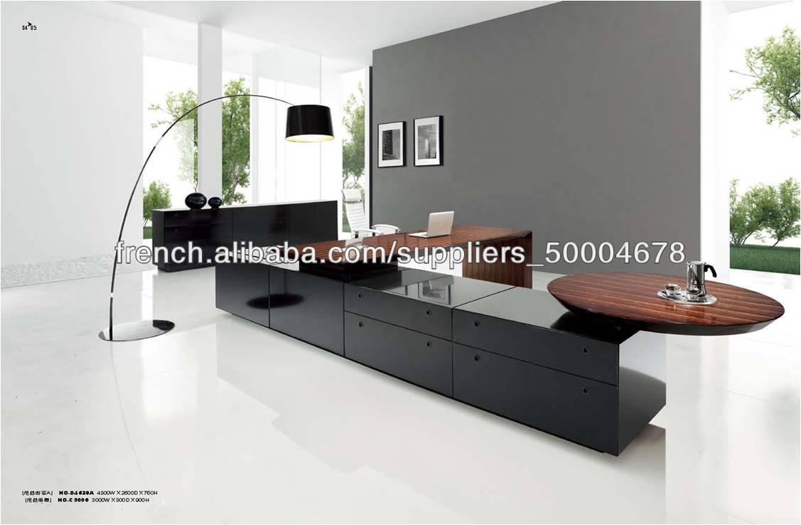 Bureau exécutif moderne en bois ultra brillant de bureau table en