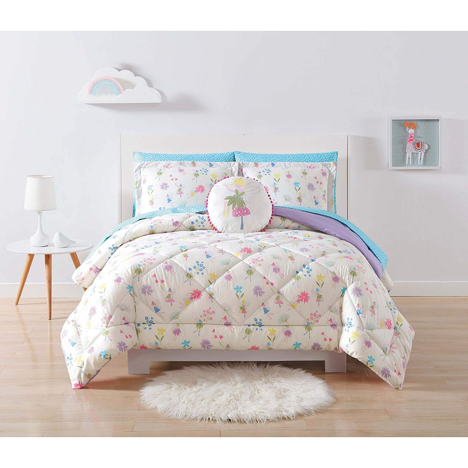 Unkk 2 Piece Girls White Purple Pink Flower Garden Faires Themed Comforter Twin XL Set, Girly All Over Floral Fairy Princess Bedding, Cute Fun Blue Yellow Green Diasy Pattern, Polyester