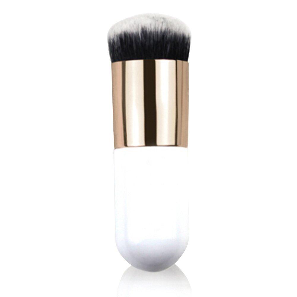 Makeup Brush Foundation Powder Brush Portable 1 Pcs Bold Handle Large Round Head Blush Brush/buffer Brush/bb Cream Brush Makeup Cosmetic Tool (Golden and White)