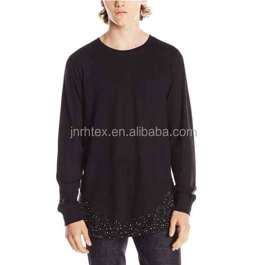 china apparel promotional custom cotton longline plain long sleeve t shirt for men