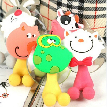 2019 factory BPA Free Children Cute Animal Hanger Sucker Silicone Toothbrush Holder