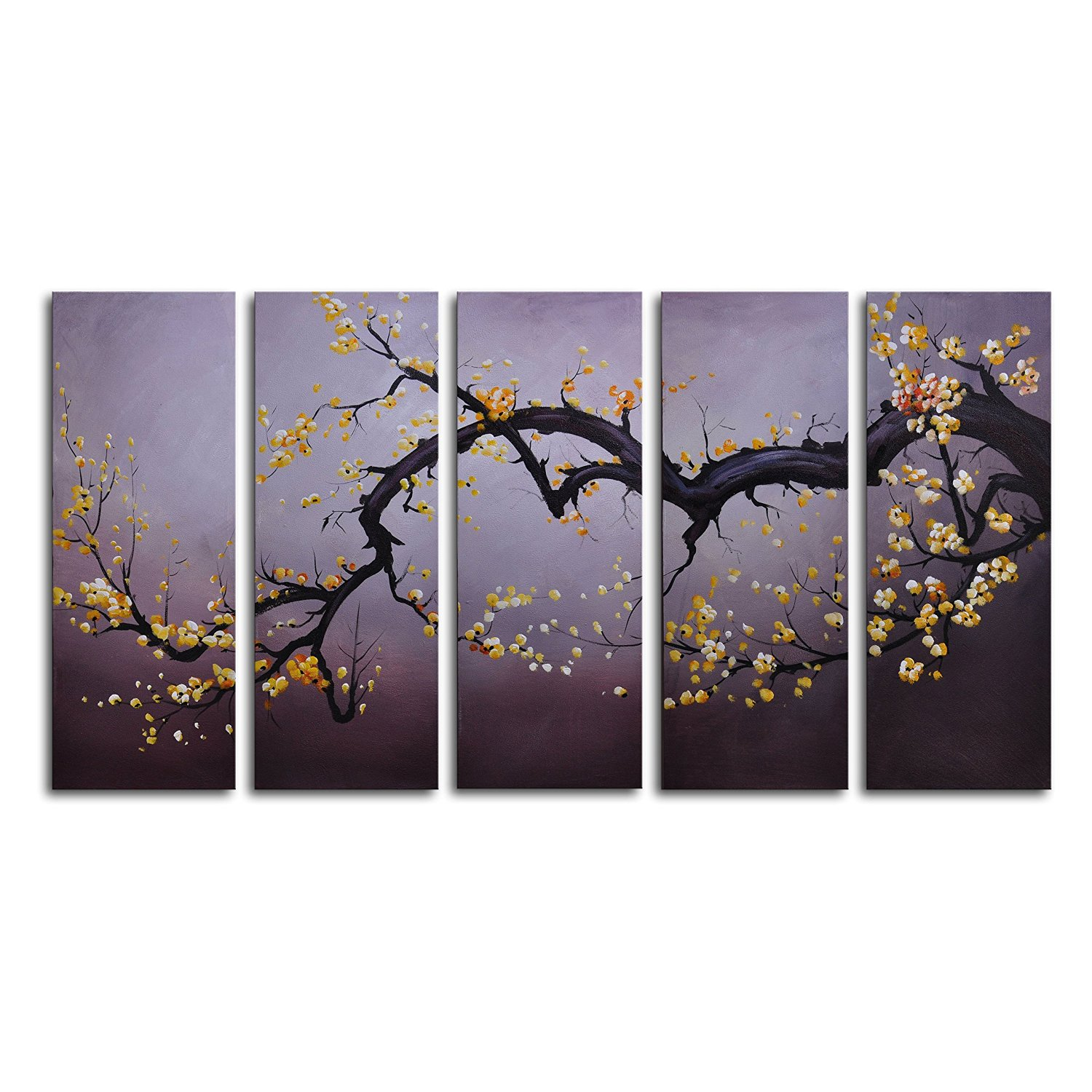 TJie Art Hand Painted Mordern Oil Paintings Japanese Branch Charcoal Sky 5, For indoor use 5-piece wall art in classic style, Hand-painted on canvas with high-quality oil, Nature theme in a mix of grey white and yellow, Dimensions: 60W x 32H in.