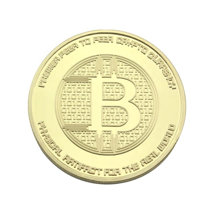 Pas cher En Gros Personnalisé en Alliage De Zinc En Métal Logo Gravé Or En Laiton Plaqué fabriqué Souvenir Commémorative Défi Bitcoin Monnaie