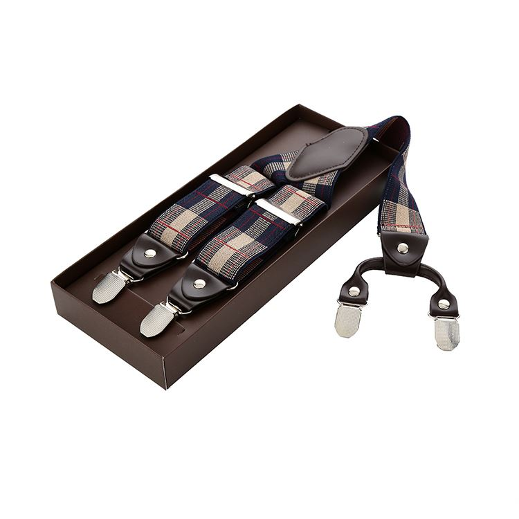 Factory sale attractive style fashion durable grid pattern jacquard t-shirt suspenders
