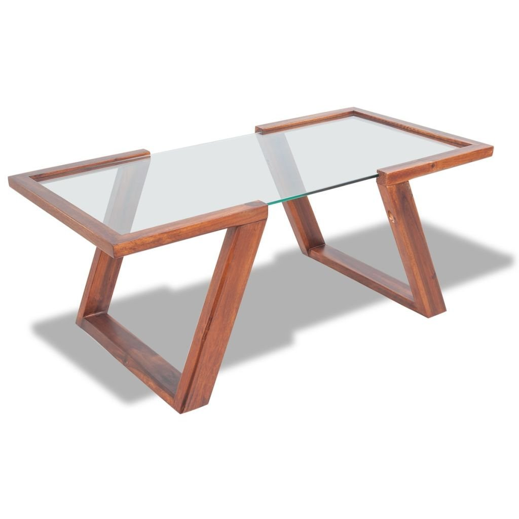 vidaXL Solid Acacia Wood Coffee Side End Table Wooden Base Tempered Glass Top