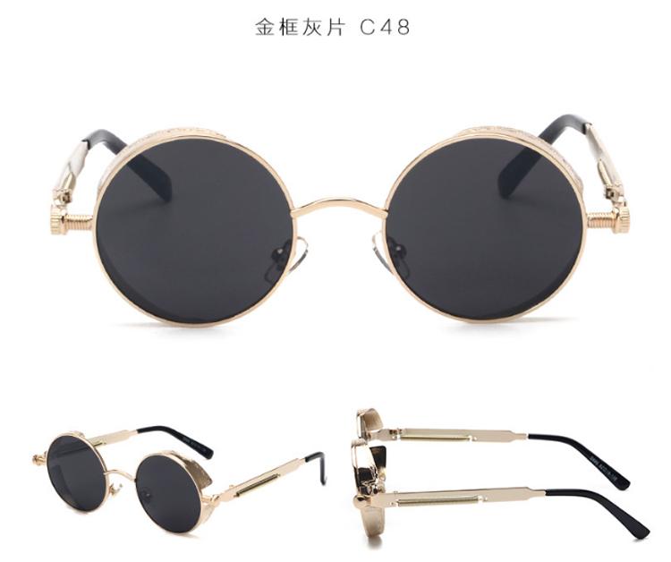 Ade Wu High Quality Retro Women Round Sunglasses Steampunk Metal