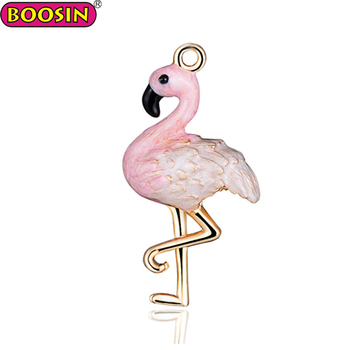 Animal Alloy Bird Pendant Enamel Pink