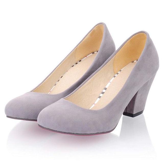 2320b858318 Buy New 2015 Plain Scrub Round Toe Thick Heel Women Pumps Fashion ...