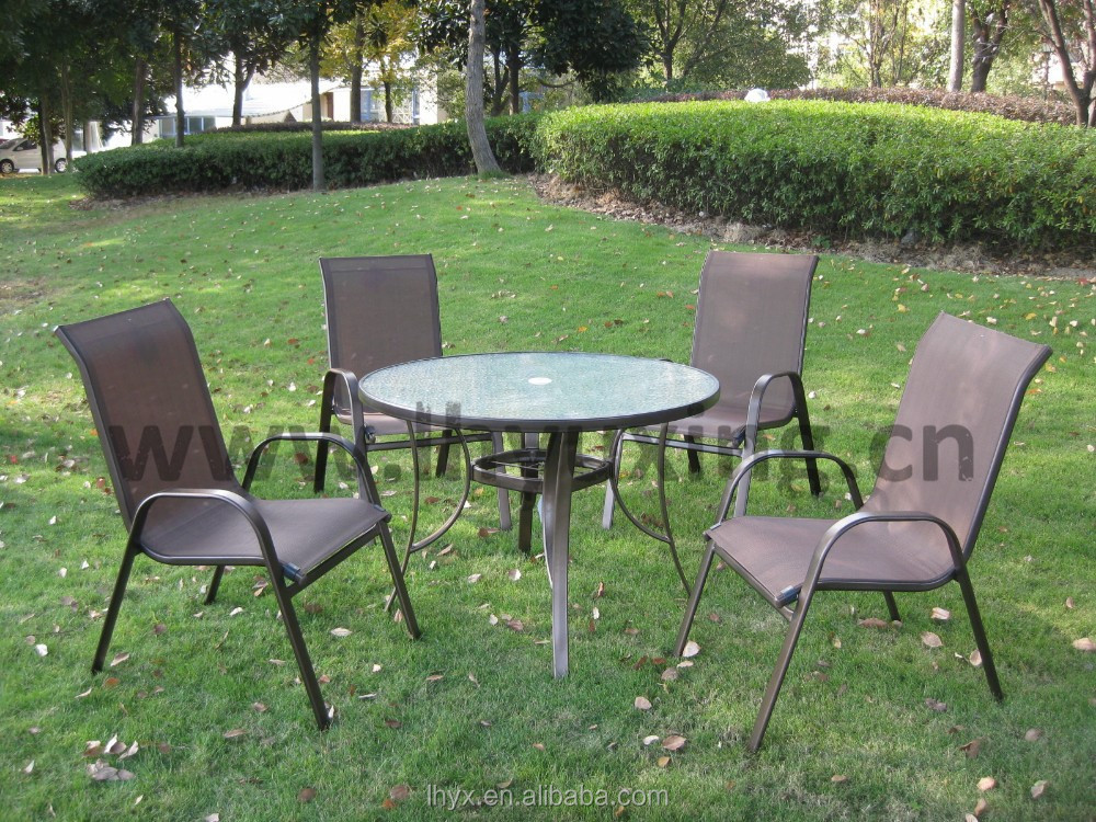5pcs promotion garden dining table and chair furniture set patio sling furniture set metal frame